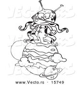 Vector of a Cartoon Boy Alien on a Planet - Outlined Coloring Page Drawing by Toonaday