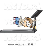 Vector of a Cartoon Boy Holding Tight to the Main Bar of a Fast Treadmill by Toonaday