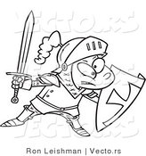 Vector of a Cartoon Boy Wearing Knight Gear with Sword and Shield by Toonaday