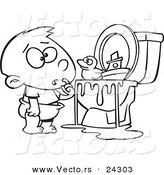 Vector of a Cartoon Boy with Toys in the Toilet Black and White Outline - Outlined Coloring Page by Toonaday