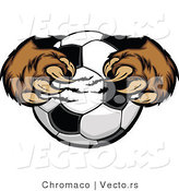 Vector of a Cartoon Brown Bear Mascot Gripping Soccer Ball with Paws and Claws by Chromaco