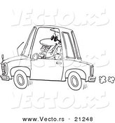 Vector of a Cartoon Businessman Talking on a Phone and Driving - Coloring Page Outline by Toonaday