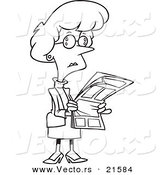 Vector of a Cartoon Businesswoman Reading a Newspaper - Outlined Coloring Page by Toonaday