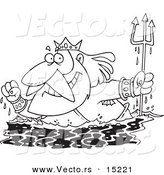 Cartoon Black And White Outline Design Of King Neptune Surfacing