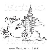 Vector of a Cartoon Cartoon Black and White Outline Design of Kong Carrying a Woman and Climbing a Skyscraper - Coloring Page Outline by Toonaday