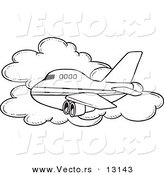 Vector of a Cartoon Commercial Airliner Passing a Cloud in Flight - Coloring Page Outline by Toonaday