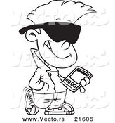 Vector of a Cartoon Cool Kid Carrying a Smart Phone - Outlined Coloring Page by Toonaday