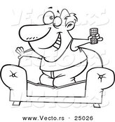 Vector of a Cartoon Couch Surfer Guy Standing on His Sofa with a TV Remote Control - Outlined Coloring Page by Toonaday