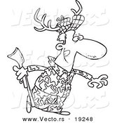 Vector of a Cartoon Deer Hunter Wearing Antlers - Outlined Coloring Page by Toonaday