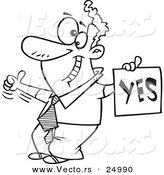 Vector of a Cartoon Displeased Man with a Thumb up Holding a YES Sign - Outlined Coloring Page by Toonaday