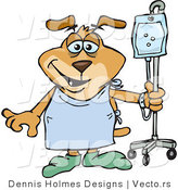Vector of a Cartoon Dog Attached to an IV in a Hospital While Trying to Recover from Surgery by Dennis Holmes Designs