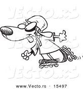 Vector of a Cartoon Dog Roller Blading - Coloring Page Outline by Toonaday