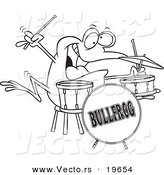 Vector of a Cartoon Drummer Frog - Outlined Coloring Page by Toonaday