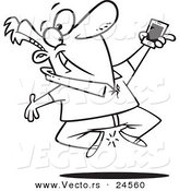 Vector of a Cartoon Excited Man Jumping with His New Cell Phone - Outlined Coloring Page by Toonaday