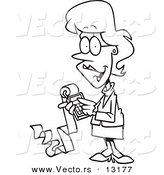 Vector of a Cartoon Female Accountant Holding a Calculator with a Long Strip of Paper - Coloring Page Outline by Toonaday