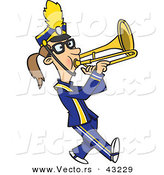 Vector of a Cartoon Female Trombone Player Marching by Toonaday