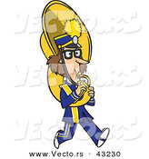 Vector of a Cartoon Female Tuba Player Marching by Toonaday