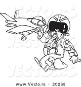 Vector of a Cartoon Fighter Pilot near His Jet - Outlined Coloring Page by Toonaday