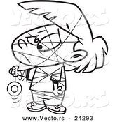 Vector of a Cartoon Girl Tangled in Her Yo Yo String Black and White Outline - Outlined Coloring Page by Toonaday