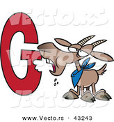 Vector of a Cartoon Goat Eating the Alphabet Letter G by Toonaday