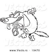 vector of a cartoon golden retriever stealing a steak outlined coloring page by toonaday