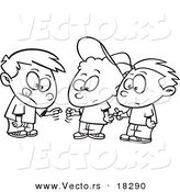 vector of a cartoon group of boys playing rock paper scissors outlined coloring page by