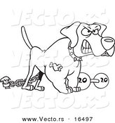 Vector Of A Cartoon Guard Dog With Dumbbell