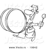 Vector of a Cartoon Happy Drummer - Outlined Coloring Page by Toonaday