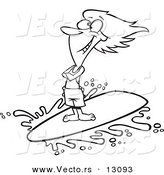 Vector of a Cartoon Happy Surfer Girl Riding a Wave - Outlined Coloring Page by Toonaday