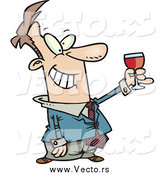 Vector of a Cartoon Happy White Businessman Toasting by Toonaday