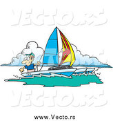 Vector of a Cartoon Happy White Man Sailing a Trimaran by Toonaday