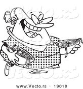 vector of a cartoon happy woman serving spaghetti and meatballs outlined coloring page by toonaday