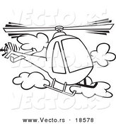Vector of a Cartoon Helicopter in the Clouds - Outlined Coloring Page by Toonaday