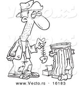 Cartoon Hungry Homeless Man Holding A Fish Bone By Trash Can