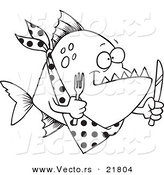 Vector of a Cartoon Hungry Piranha Fish - Outlined Coloring Page by Toonaday