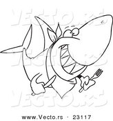 Vector of a Cartoon Hungry Shark - Coloring Page Outline by Toonaday