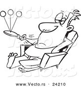 Vector of a Cartoon Lazy Man Playing Paddle Ball - Coloring Page Outline by Toonaday