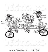 Vector of a Cartoon Lazy Man Relaxing on a Tandem Bike While His Partners Cycle - Coloring Page Outline by Toonaday