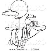Vector of a Cartoon Man Floating Through the Sky with a Balloon - Coloring Page Outline by Toonaday