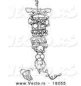 Vector of a Cartoon Man Hanging Upside down and Tangled in Christmas Lights - Outlined Coloring Page by Toonaday