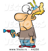 Vector of a Cartoon Man Pointing Toy Gun While Getting Shot with Nerf Darts to His Head by Toonaday
