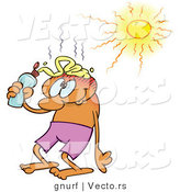Vector of a Cartoon Man Putting Sunblock on His Bald Head on a Hot Summer Day by Gnurf