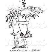 Vector of a Cartoon Man Under a Struck Umbrella - Coloring Page Outline by Toonaday