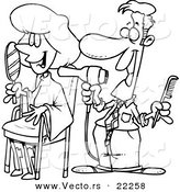 cartoon man working on a female client at a salon outlined coloring page
