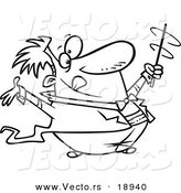 vector of a cartoon music conductor swirling his baton outlined coloring page by toonaday