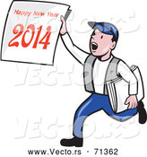 Vector of a Cartoon News Boy Delivering a 'Happy New Year 2014' Newspaper by Patrimonio
