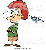 Vector of a Cartoon Paper Plane Annoying a Red Haired White Businesswoman by Toonaday