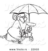 Vector of a Cartoon Paranoid Businessman Wearing a Helmet Under an Umbrella - Coloring Page Outline by Toonaday