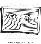 Vector of a Cartoon Paranoid Man Peeking Through Blinds - Coloring Page Outline by Toonaday