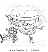 Vector of a Cartoon Pilot Hanging on His Biplane - Coloring Page Outline by Toonaday